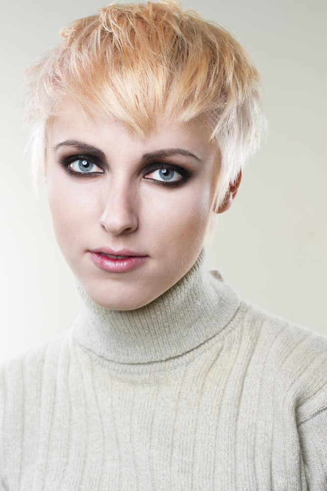 Woman With Edgy Pixie And Short, Centered Bang