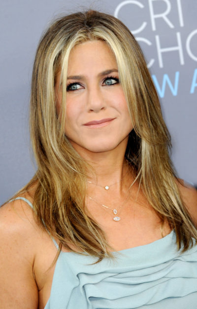 Jennifer Aniston with her LONG BLONDE STRAIGHT hairstyle at the 21st Annual Critics' Choice Awards 2016