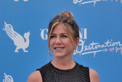 Jennifer Aniston with her pony-tailed long blonde hairstyle at Giffoni Film Festival 2016.