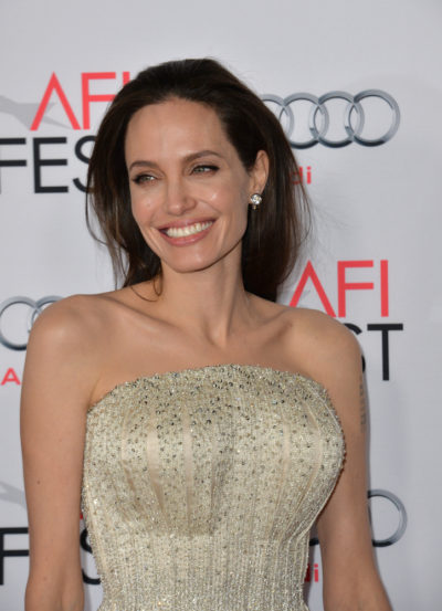 """Angelina Jolie with her long brunette hair at the AFI Festival premiere of her movie """"By the Sea"""" 2015."""