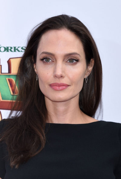Angelina Jolie with a long brunette hair at the Kung Fu Panda 3 World Premiere 2016.