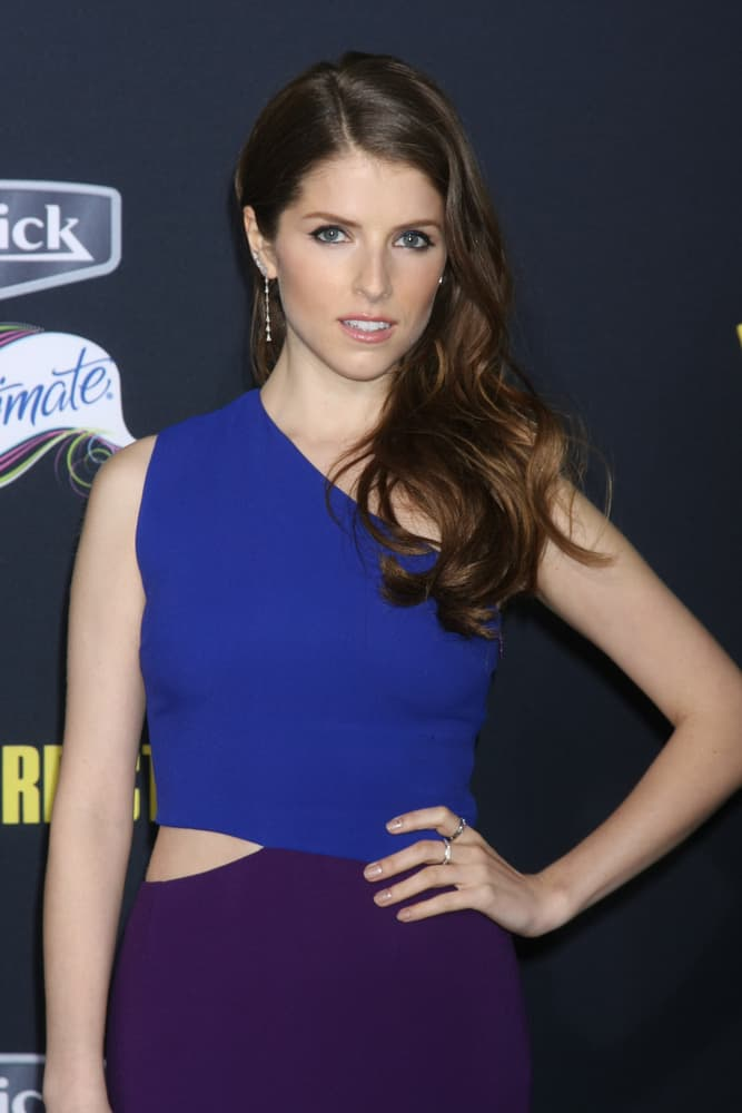 """Anna Kendrick with wavy long hair at the """"Pitch Perfect 2"""" World Premiere at the Nokia Theater 2015."""