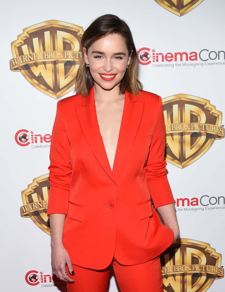"Emilia Clarke with a straight bob hair style arrives to CinemaCon 2016: Warner Bros. ""The Big Picture"""