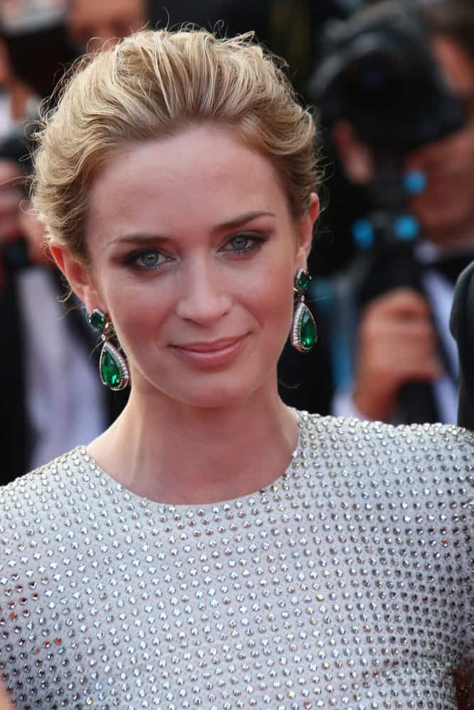 Emily Blunt with an up-style blonde tresses at the 'Sicario' premiere during the 68th annual Cannes Film Festival 2015