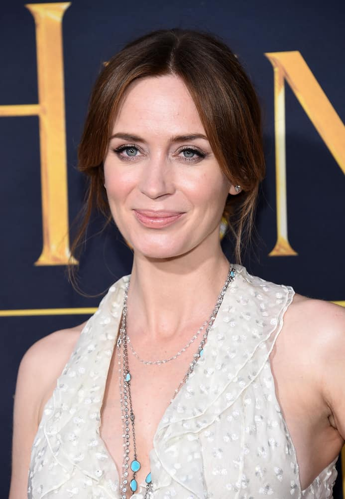 Emily Blunt having a classy up-style hairdo at the Los Angeles premiere of 'The Huntsman: Winter's War' 2016