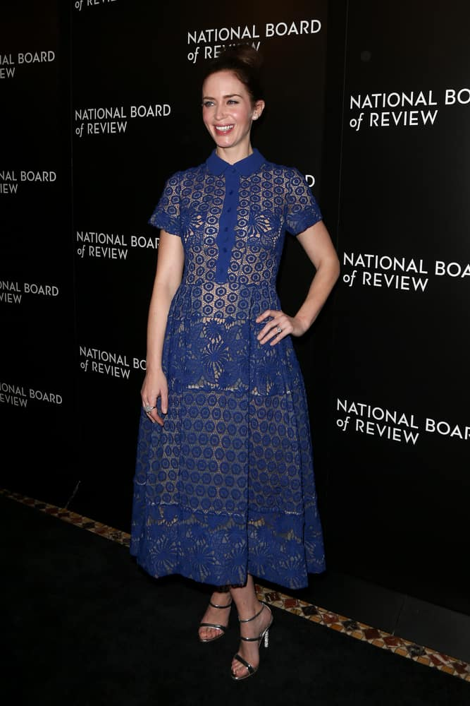 Actress Emily Blunt looking vibrant with her brunette bun hairstyle attended the 2015 National Board of Review Gala 2016