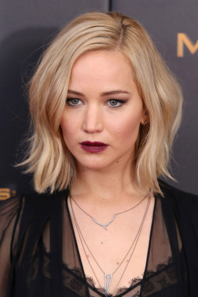 "Jennifer Lawrence with her bob cut hairstyle at the premiere of ""The Hunger Games Mockingjay- Part 2"" 2015."