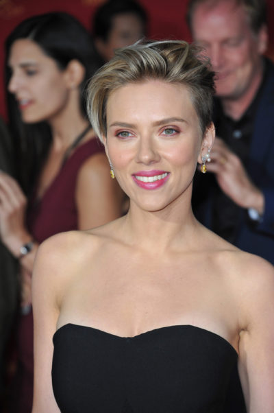 "Scarlett Johansson with a pixie hairstyle at the world premiere of ""Avengers: Age of Ultron"" 2015."