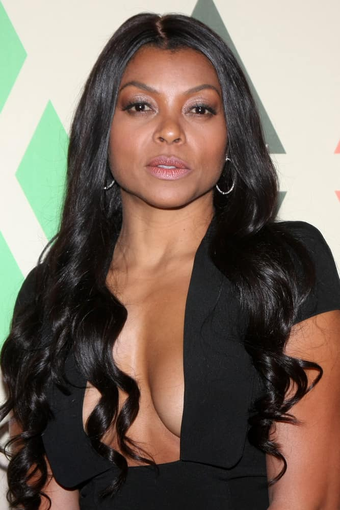 Taraji Henson with flowing black hair in November 2016.