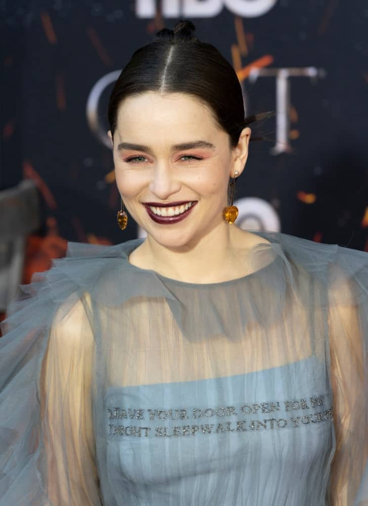Emilia Clarke attends HBO Game of Thrones' final season premiere at Radio City Music Hall on April 3, 2019.
