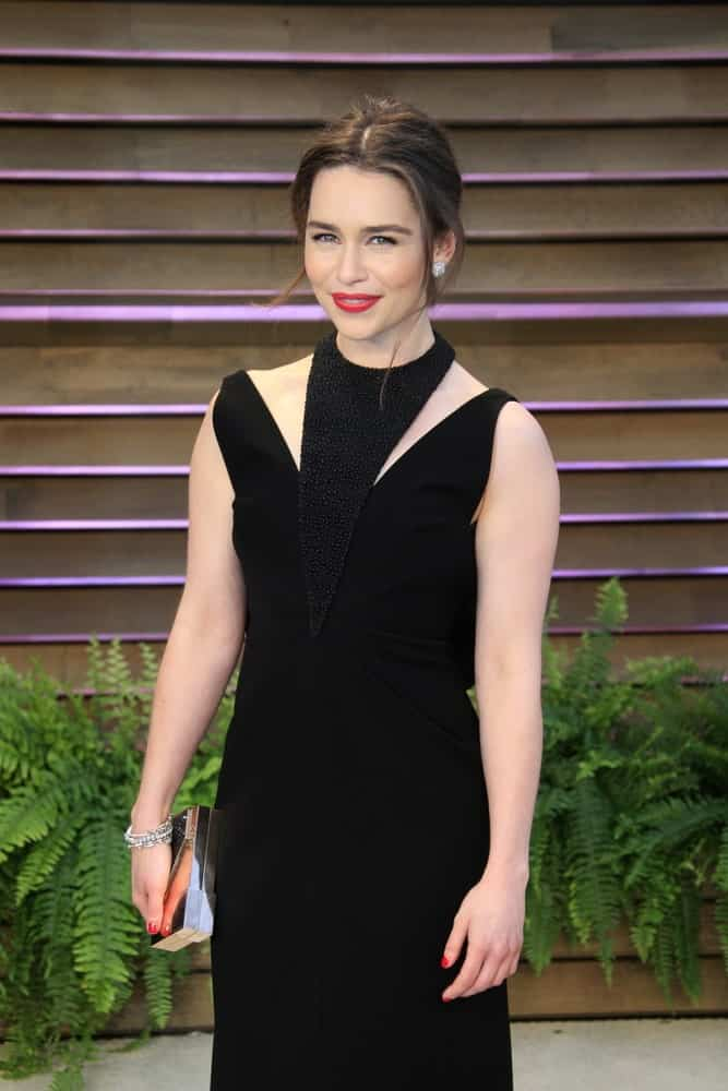 Emilia Clarke at the 2014 Vanity Fair Oscar Party on March 2, 2014, in West Hollywood, Ca.