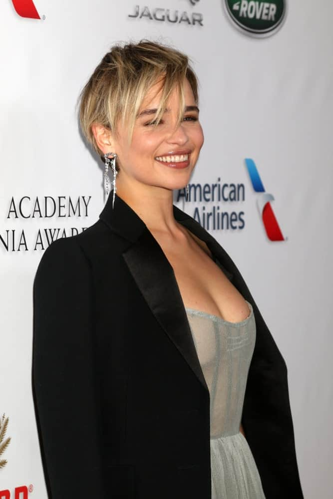 Emilia Clarke at the 2018 British Academy Britannia Awards at the Beverly Hilton Hotel on October 26, 2018, in Beverly Hills, CA.