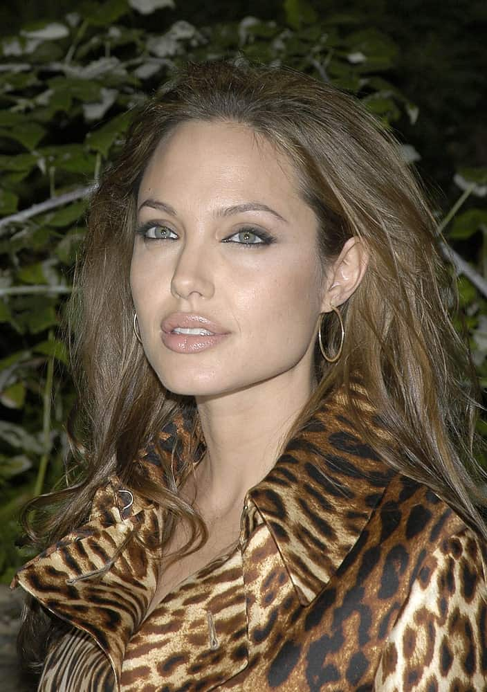 Angelina Jolie was at the premiere of SHARK TALE at the Delacorte Theatre in Central Park, New York on September 27, 2004. She came wearing a stylish animal print coat that she paired with a tousled brown hairstyle with layers.