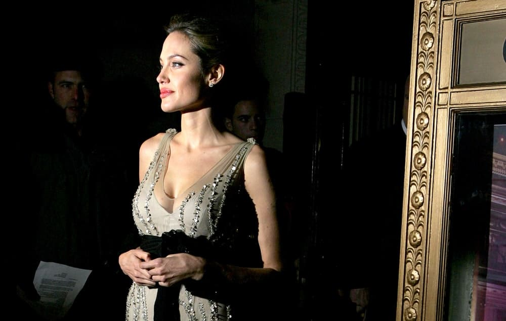 Angelina Jolie was quite elegant in her bejeweled gray dress and her slicked back upstyle hair at Worldwide Orphans Foundation Benefit, Capitale Venetian Ballroom in New York, NY on October 24, 2005.