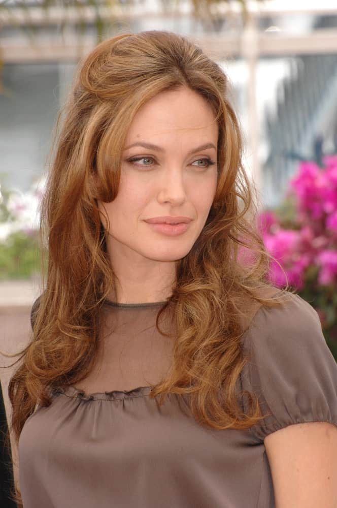 Angelina Jolie's hair had a nice brown tone to it with its half up style and curls at the tips at the photocall for her new movie