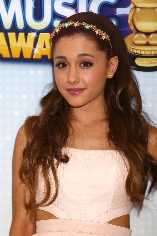 Ariana Grande with her long, brown waves topped with a nice headband during the 2013 Radio Disney Music Awards held on April 27, 2013.
