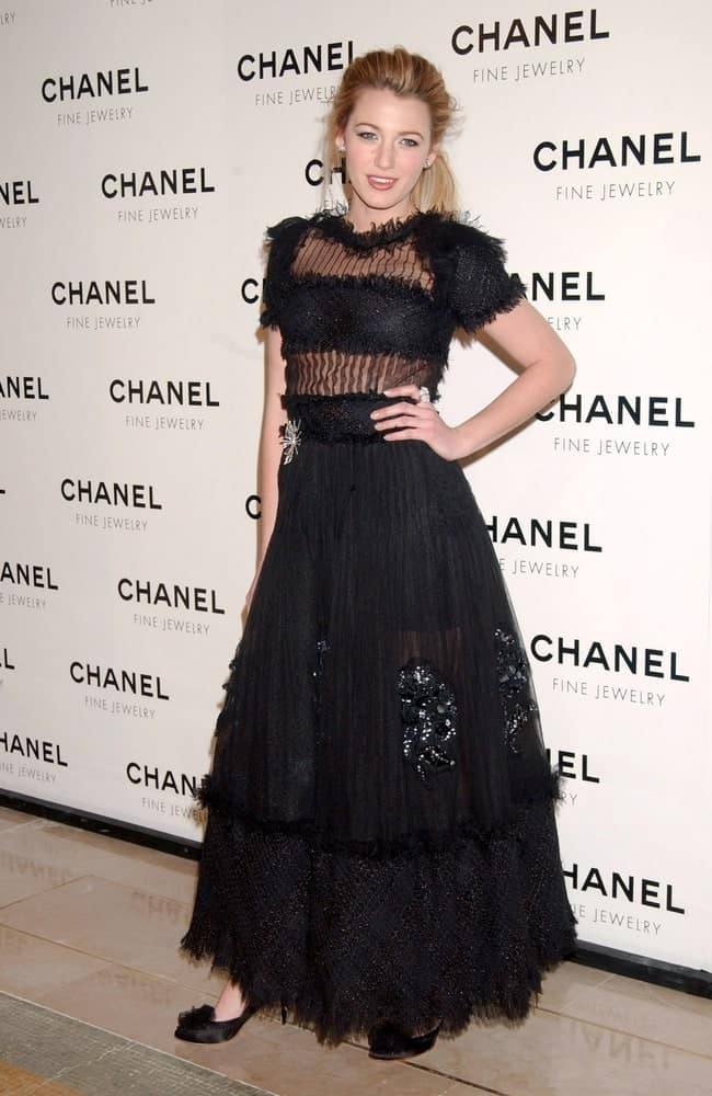 Blake Lively messy and highlighted upstyle hair with tendrils complemented her Chanel dress, at the Chanel Fine Jewelry's Night of Diamonds Dinner in New York last January 16, 2008.