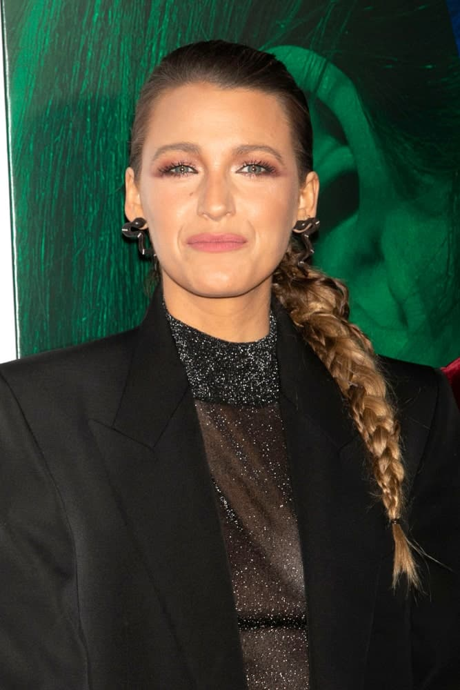 Blake Lively wore a sick dark hairstyle that ended with a long braided ponytail at the premiere of