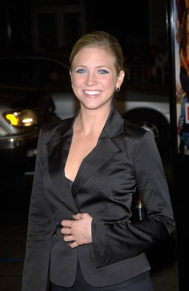 Actress Brittany Snow was at the Los Angeles premiere of EuroTrip on February 17, 2004. She wore an all black smart casual attire with her slicked-back blonde hairstyle.