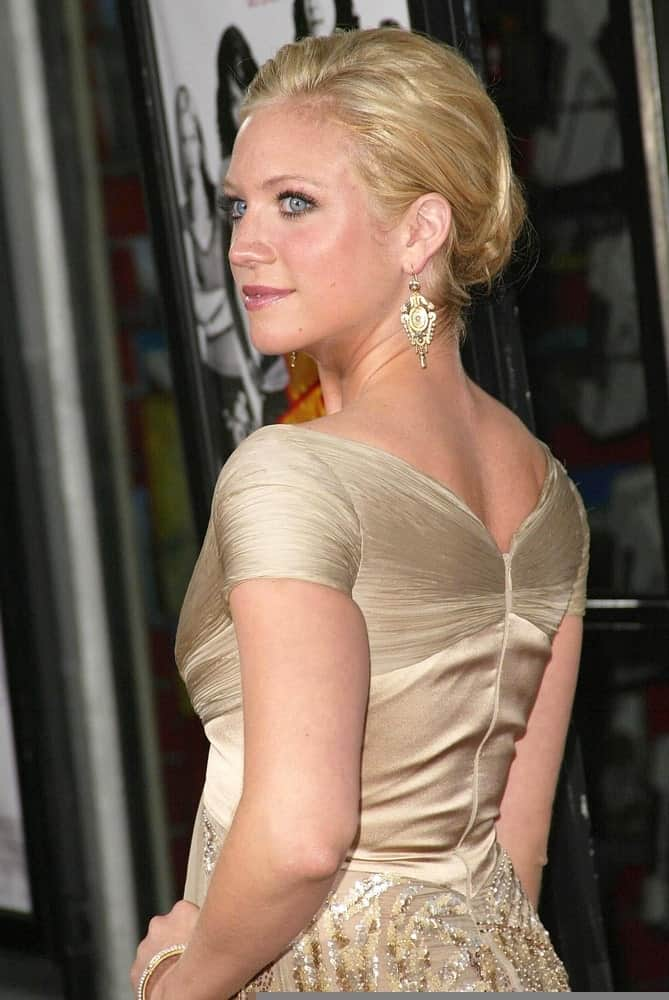 Brittany Snow was at the premiere of John Tucker Must Die on July 25, 2006 at Grauman's Chinese Theatre in Hollywood, CA. She wore an elegant golden dress to pair with her slick blonde bun hairstyle.