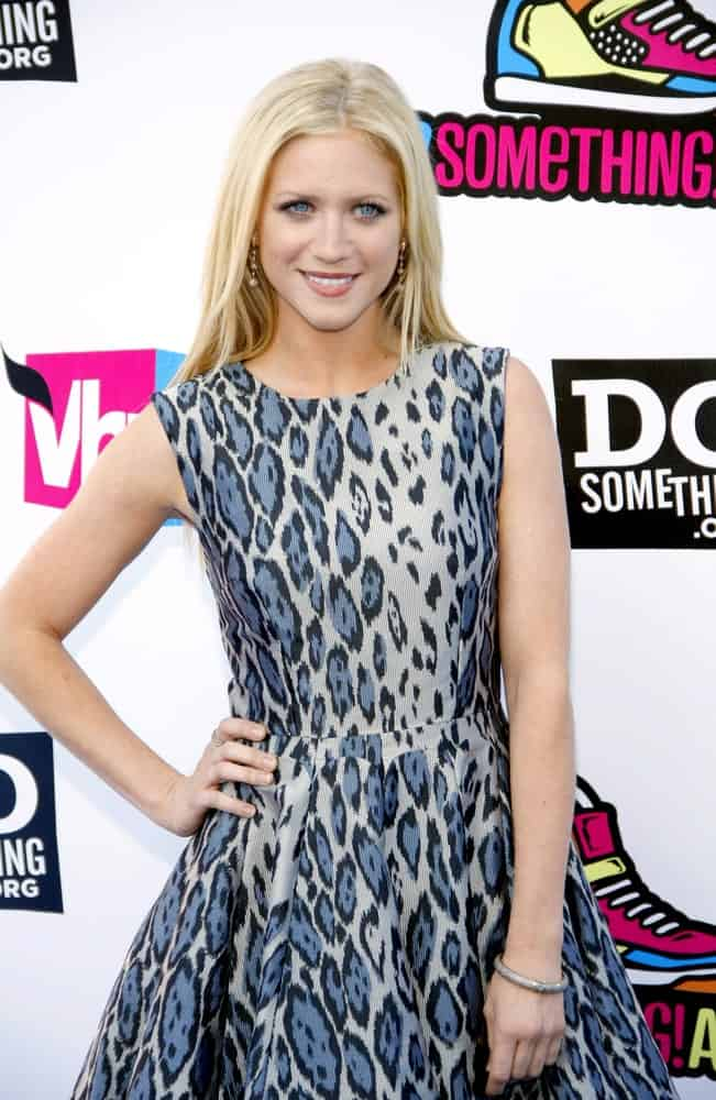 Brittany Snow attended the 2011 VH1 Do Something Awards held at the Palladium Hollywood in Los Angeles, California on August 14, 2011. SHe wore an animal print dress to go with her long and silky straight blonde hairstyle with layers.