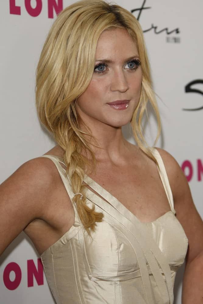 Brittany Snow attended the 12th Anniversary Issue party for Nylon magazine at Tru Hollywood in Los Angeles, California on March 24, 2011. She wore a sexy white dress with her messy side-swept blonde hairstyle that has a fishtail braid.