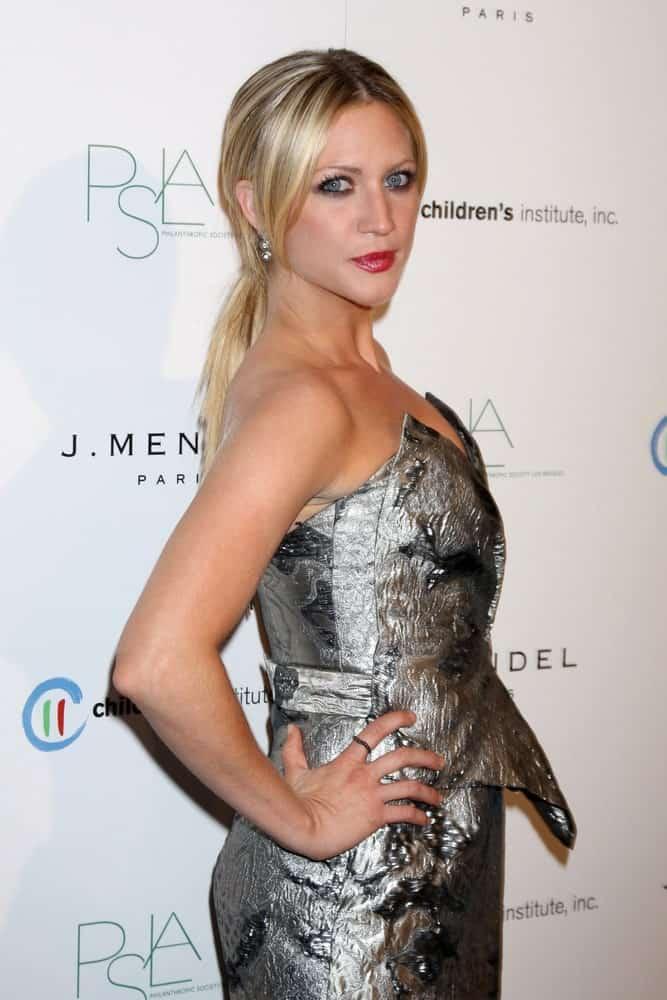 Brittany Snow was at the 3rd Annual Autumn Party with designer J Mendel at The London West Hollywood on October 17, 2012 in West Hollywood, CA. She paired her silvery metallic dress with a sandy-blonde low ponytail.