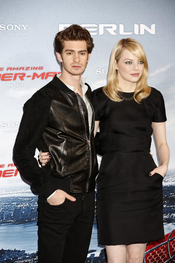 Andrew Garfield and Emma Stone wore matching black outfits at the photo call for