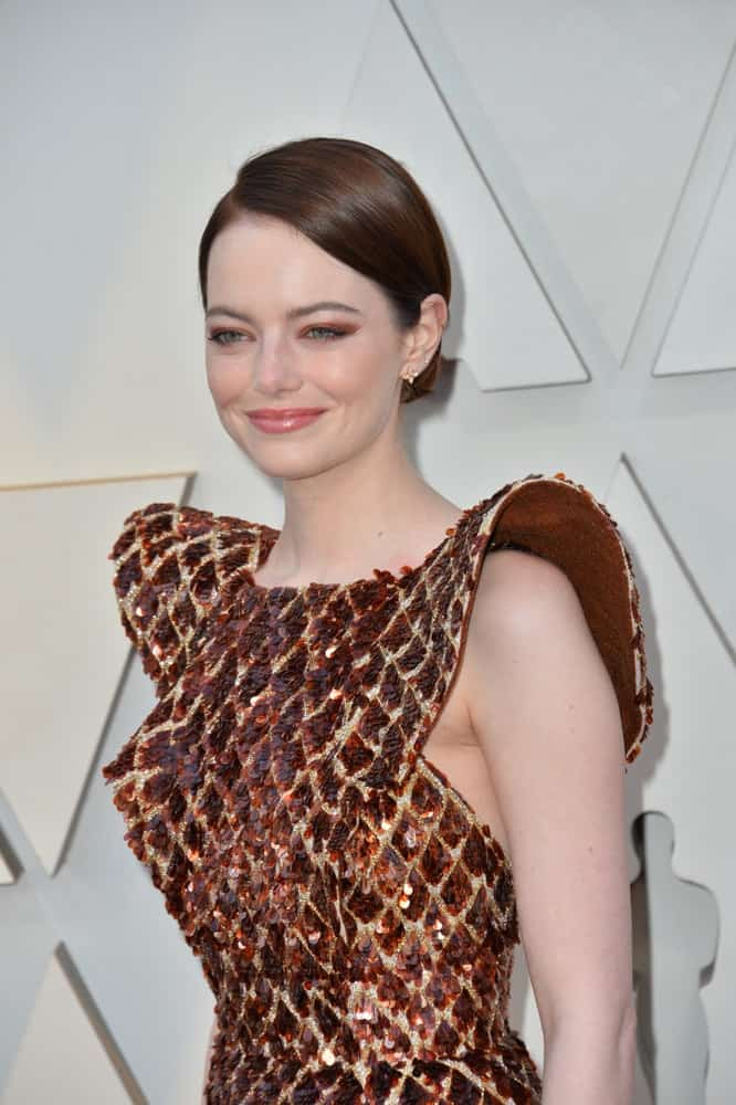 On February 24, 2019, Emma Stone wore a lovely detailed sequined dress that went quite well with her slick and neat low bun hairstyle at the 91st Academy Awards at the Dolby Theatre.