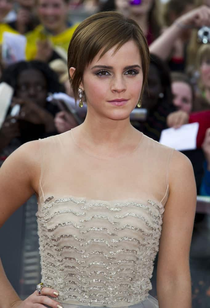 Emma Watson wore a fashionable and stylish detailed dress with her side-swept pixie hairstyle at the World Premiere of 'Harry Potter & the Deathly Hallows part 2' in Trafalgar Square, London on July 7, 2011.