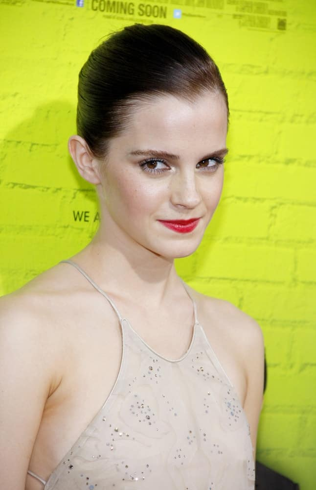 Emma Watson attended the Los Angeles premiere of 'The Perks Of Being A Wallflower' held at the ArcLight Cinemas in Hollywood on September 10, 2012. She was stunning in her nude dress, red lips and slicked-back hairstyle.