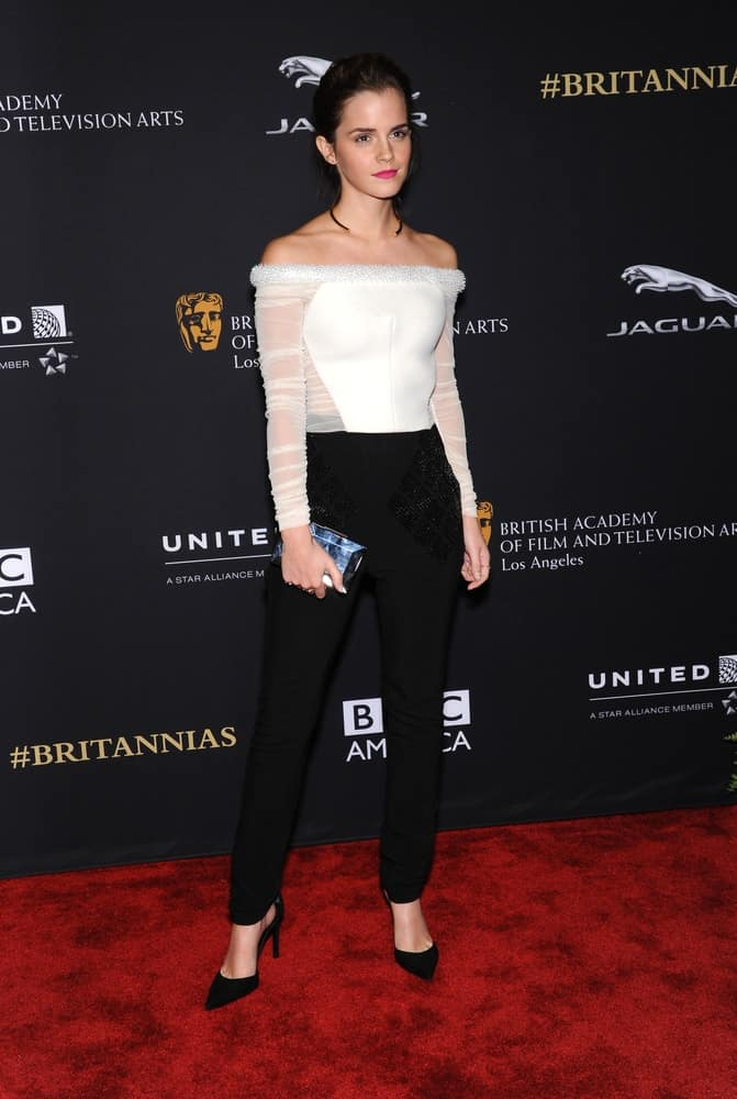 Emma Watson attended the BAFTA Jaguar Brittannia Awards 2014 on October 30, 2014 in Beverly Hills, CA. She wowed everyone with her stylish smart casual ensemble outfit that she topped with slick yet loose upstyle bun hair.