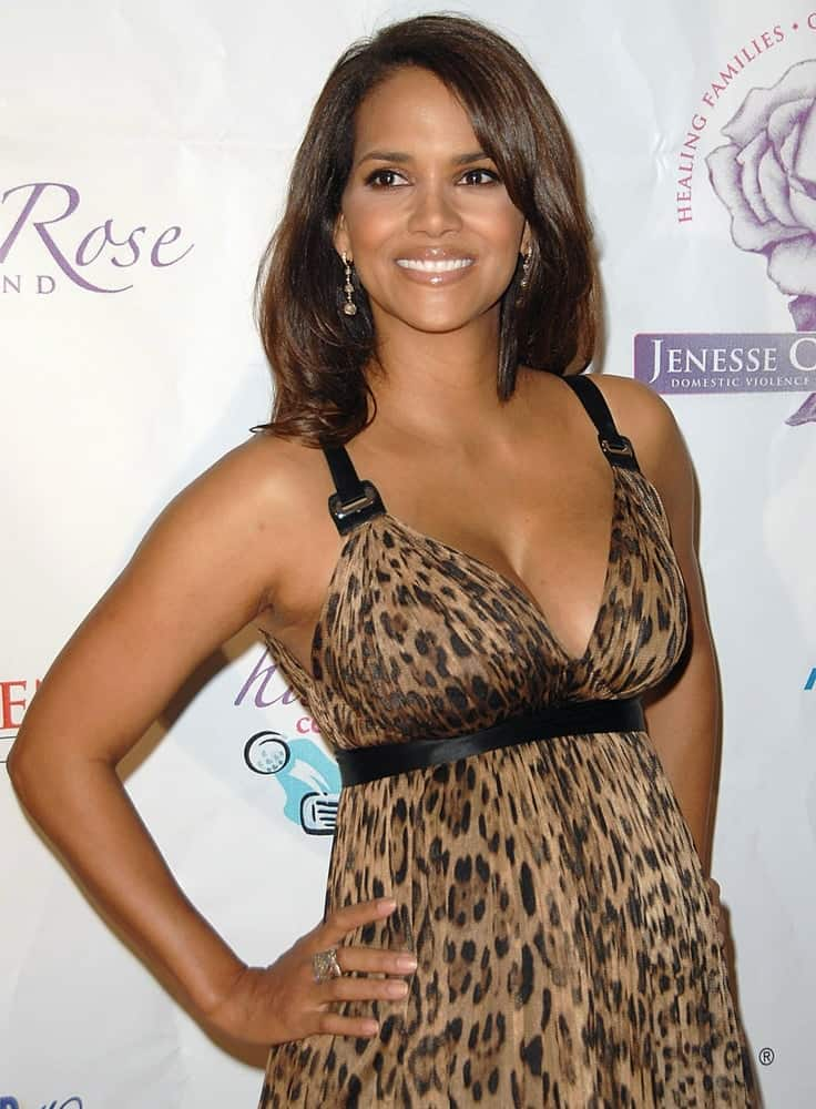 Halle Berry wore a stylish animal print a Dolce & Gabbana dress with her medium-length layered hairstyle at the Jenesse Silver Rose Gala & Auction held at theBeverly Hills Hotel in Beverly Hills, CA on April 27, 2008.