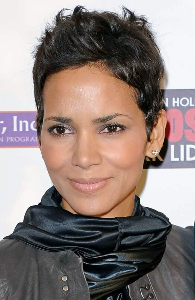 Halle Berry's casual all-black winter clothes paired quite well with her spiked pixie hairstyle at An Evening of Awareness Benefit for the Jenesse Center, Crosby Street Hotel in New York, NY on November 16, 2009.