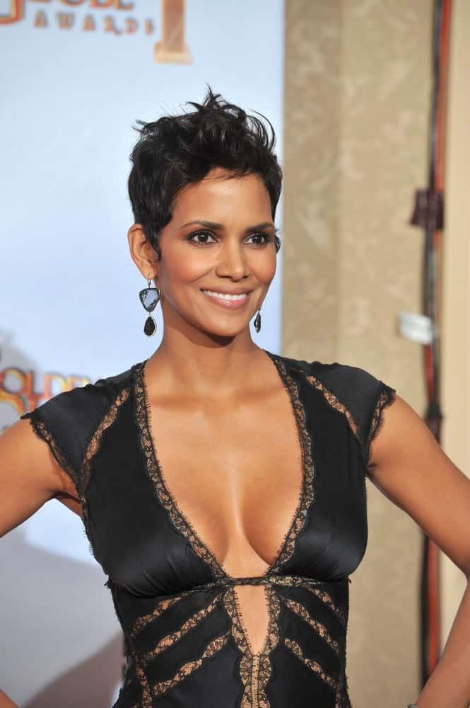 Halle Berry's brilliant smile and sexy black dress complements her stylish spiked pixie hairstyle at the 67th Golden Globe Awards at the Beverly Hilton Hotel on January 17, 2010 in Beverly Hills, CA.
