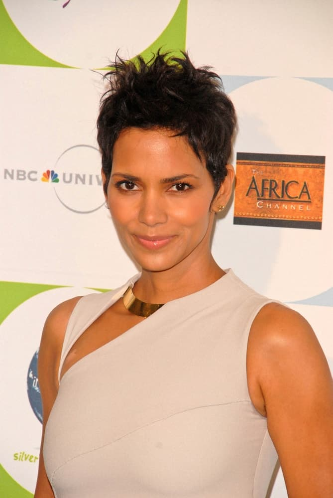 Halle Berry opted for a simple make-up to pair with her spiked pixie hairstyle and gray dress at the 2010 Jenesse Silver Rose Gala & Auction, Beverly Hills Hotel, Beverly Hills, CA.
