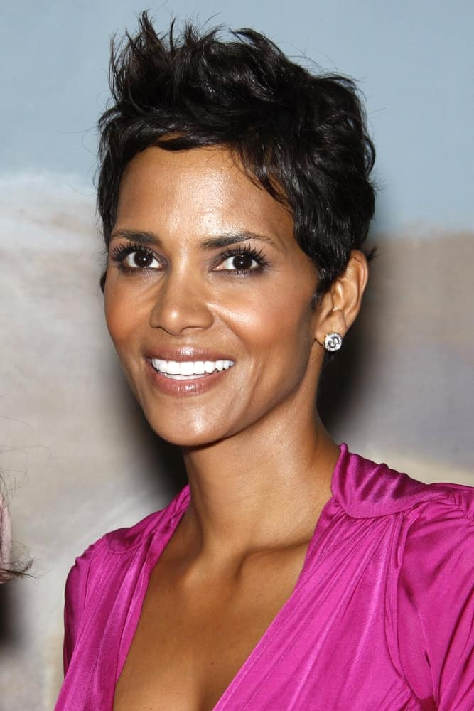 Halle Berry's lovely purple dress complements her youthful glow and spiky side-swept pixie hairstyle at the Silver Rose Awards Gala held at the Beverly Hills Hotel, Beverly Hills, California on April 17, 2011.