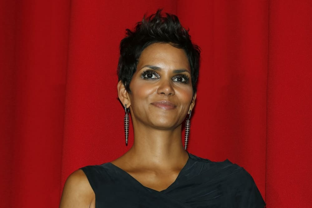 Halle Berry flaunted her lovely earrings with her simple black dress and spiked raven pixie hairstyle at the 'Cloud Atlas' Germany Premiere at CineStar on November 5, 2012 in Berlin, Germany.