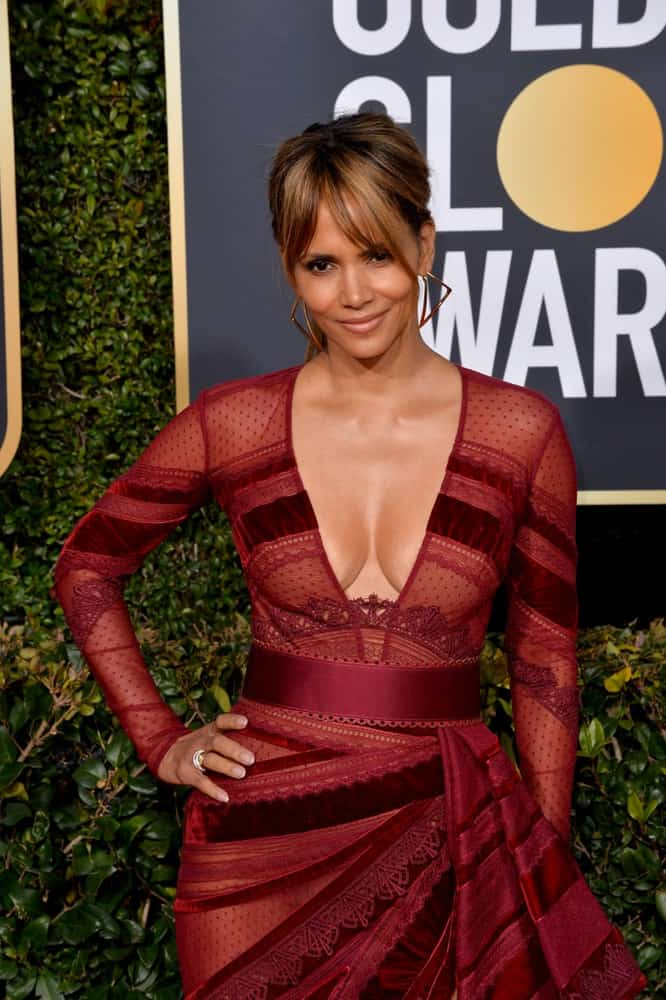 On January 06, 2019, Halle Berry attended the 2019 Golden Globe Awards at the Beverly Hilton Hotel. She wore a stunning red patterned dress with plunging neckline and lovely highlighted low ponytail hairstyle.