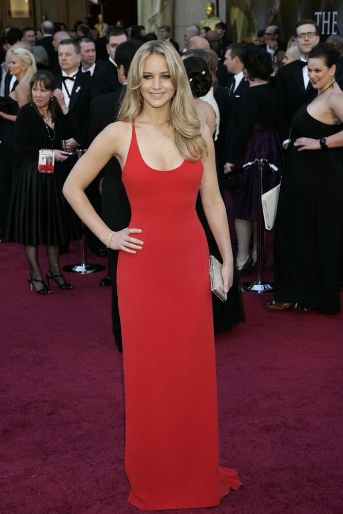Jennifer Lawrence was at the 83rd Annual Academy Awards - Oscars at the Kodak Theater on February 27, 2011 in Los Angeles, CA. She wowed everyone with her elegant red dress that went quite well with her long sandy blond hairstyle with waves and layers.
