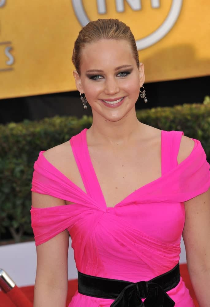 Jennifer Lawrence wowed everyone with her charming bubblegum pink dress and slicked back bun hairstyle at the 17th Annual Screen Actors Guild Awards at the Shrine Auditorium on January 30, 2011 in Los Angeles, CA.