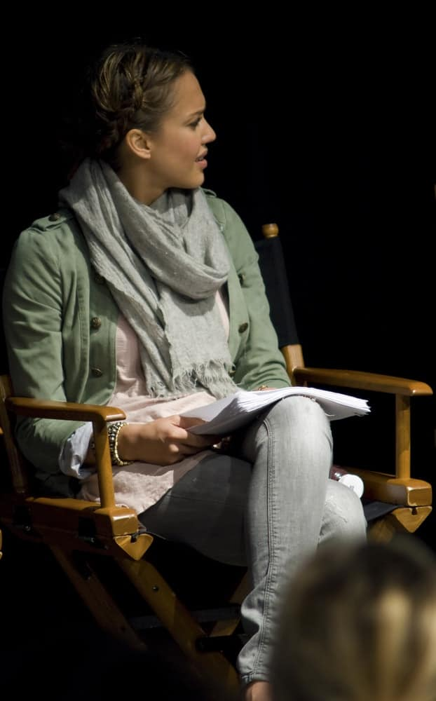Jessica Alba was at ' The Hand Job ' Script Reading at the Rollins Theatre during the 17th Annual Austin Film Festival on October 24, 2010 in Austin, TX. She wore a casual ensemble outfit with her neat bun upstyle that was incorporated with braids on the side.