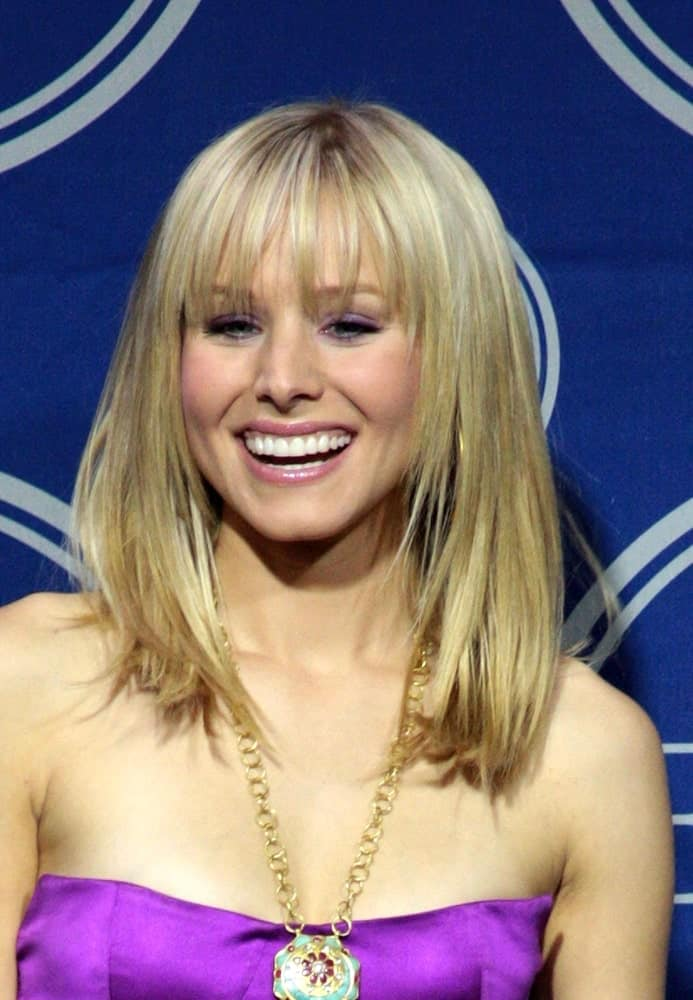 Kristen Bell flaunted her mid-length straight hairstyle with airy bangs at The 2008 ESPY Awards at NOKIA Theatre LA Live, Los Angeles, CA on July 16, 2008.