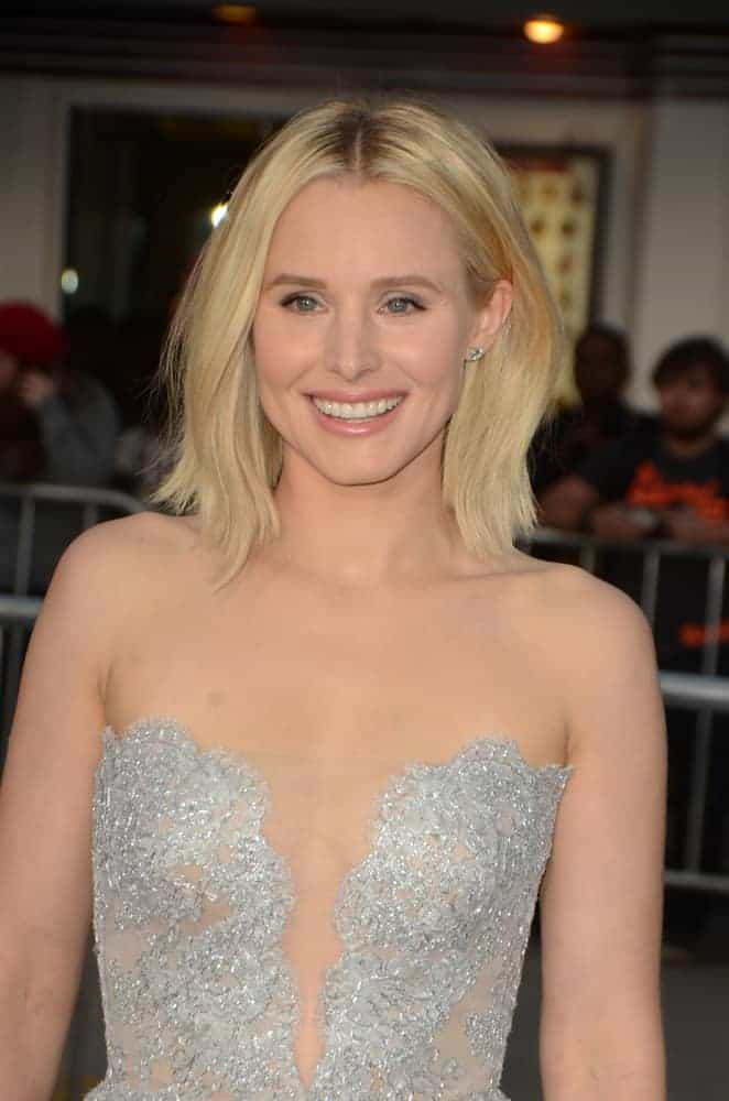 Kristen Bell opted for a layered bob cut hairstyle at the premiere of her movie