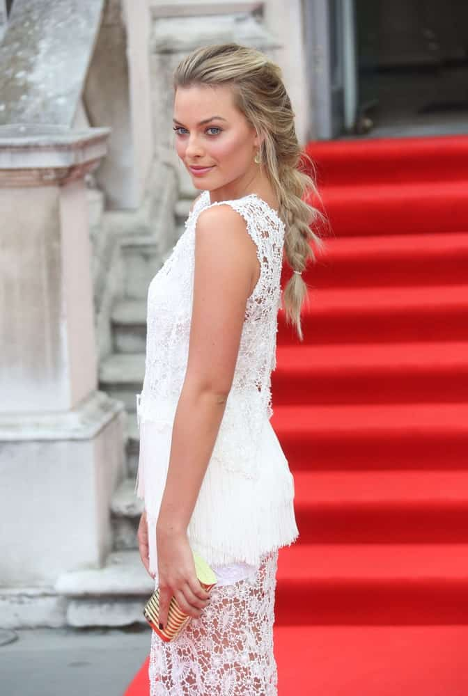 Margot Robbie flaunted her long blonde tresses arranged into a fishtail braid at the About Time UK Premiere held at Somerset House, London on August 8, 2013.