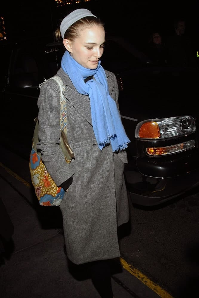 Natalie Portman wore a large gray winter coat to match with her slick upstyle incorporated with a headband at the Opening Night of TALK RADIO on Broadway held at The Longacre Theatre in New York, NY on March 11, 2007.