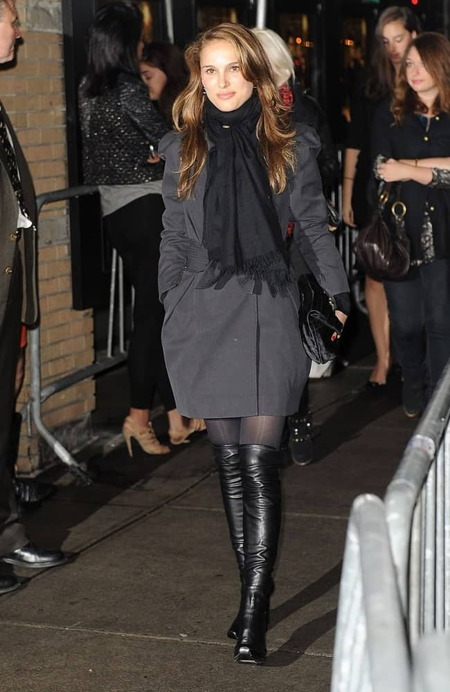 Natalie Portman attended the Special Screening of THE TWILIGHT SAGA NEW MOON at the Landmark Sunshine Cinema in New York, NY on November 19, 2009 She paired her black leather boots with a coat and long layered brown hairstyle with long side-swept bangs.
