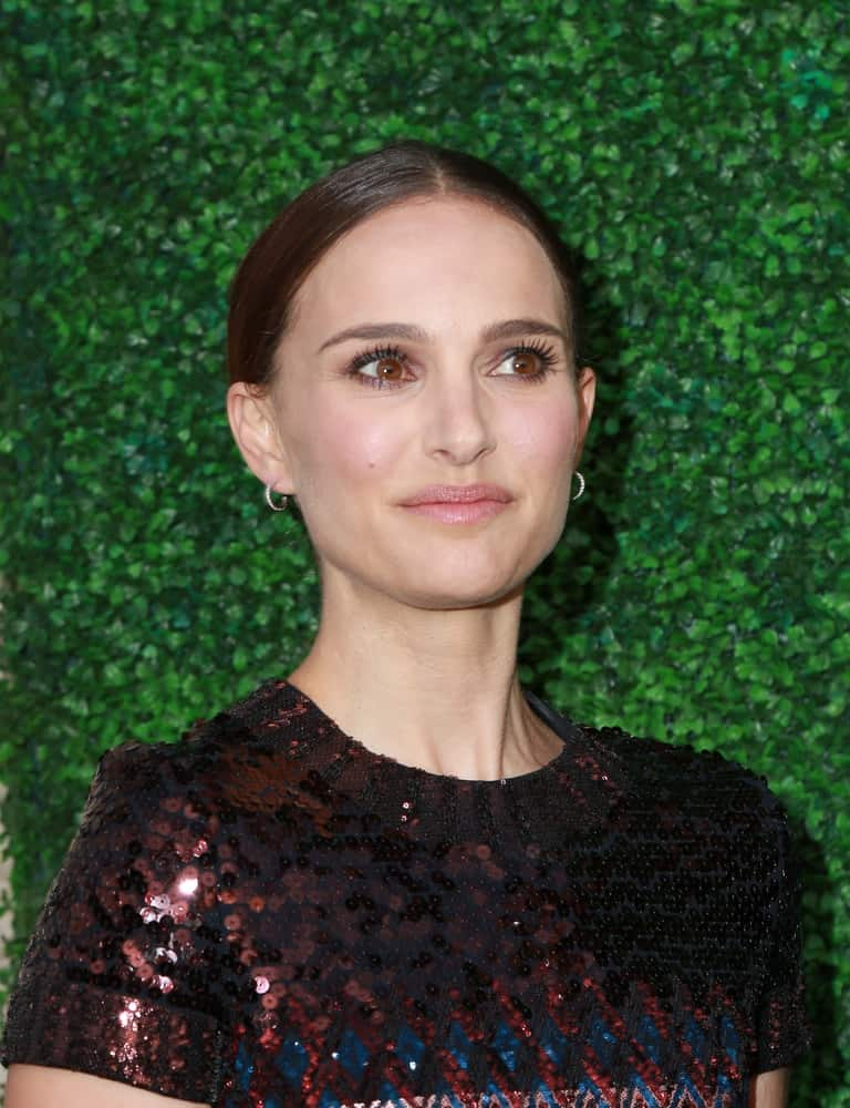 Natalie Portman wore a dark and simple sequined outfit to pair with her slick bun hairstyle at the Nazarian Center For Israel Studies Fifth Annual Gala at the Wallis Annenberg Center for the Performing Arts on May 5, 2015 in Beverly Hills, CA.