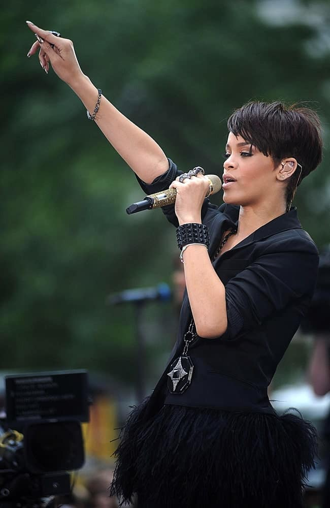 Rihanna was quite fashionable in her feathered black tutu and black jacket to pair with her side-swept raven pixie hairstyle on stage for CBS 'The Early Show' with Rihanna held at the CBS Studios Plaza in New York, NY on June 20, 2008.