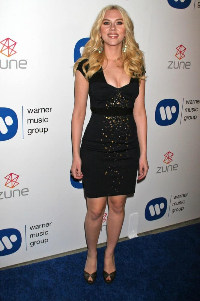 Scarlett Johansson attended the Warner Music Group 2007 Grammy After Party. held at The Cathedral in Los Angeles, CA on February 11, 2007. She looked great with her short black dress and center-parted medium-length wavy blond hair with slight tousle.